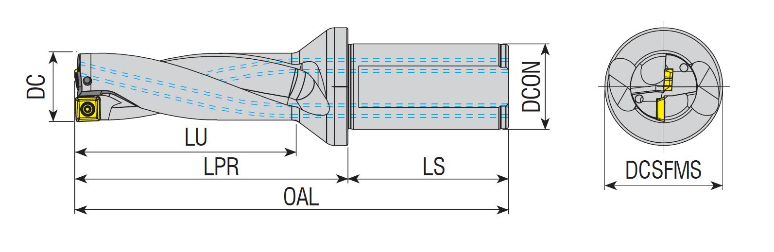 Vollbohrer 3xD mit Innenkühlung für 880-0...C/P