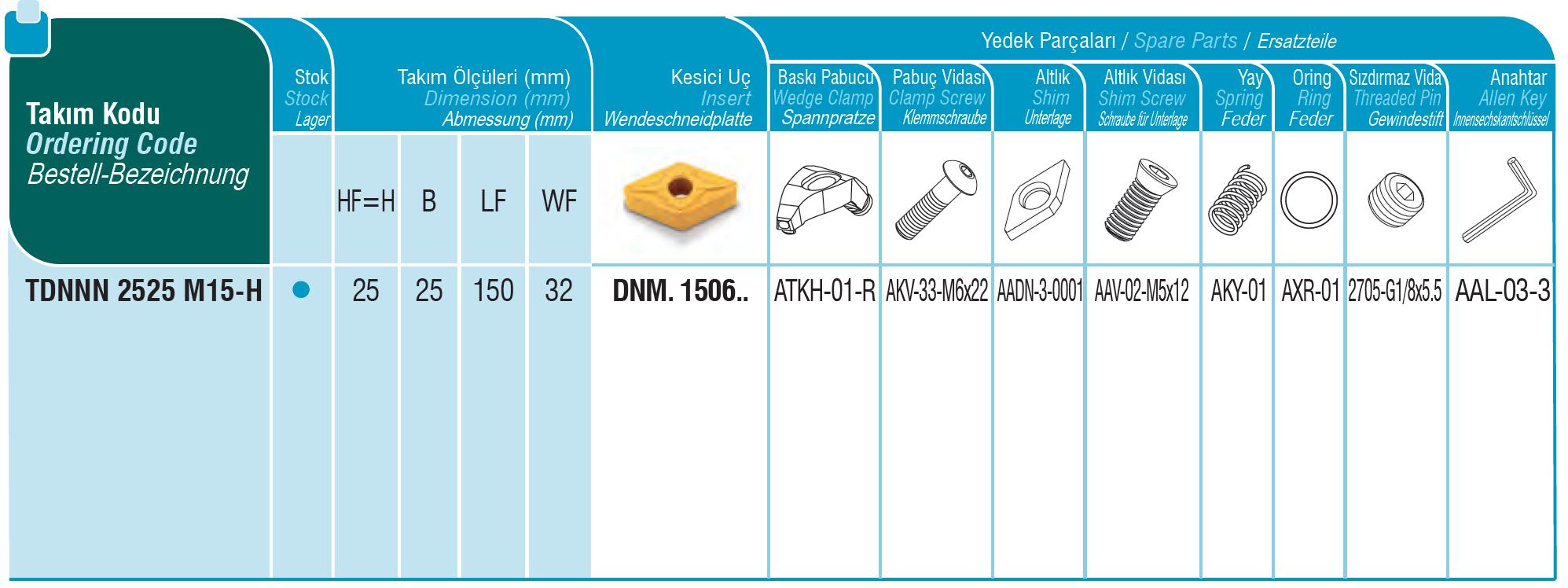 Drehhalter mit Innenkühlung TDNNN 2525 M15-H