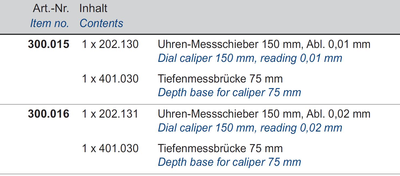 Uhren-Messschieber + Tiefenmessanschlag