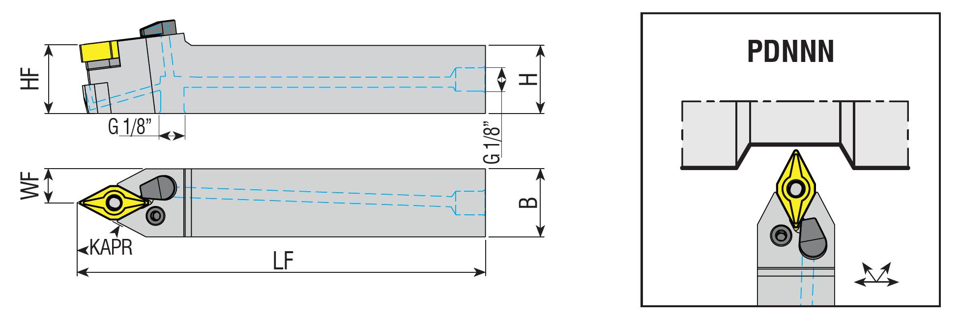 Drehhalter mit Innenkühlung PDNNN 2525 M15-H