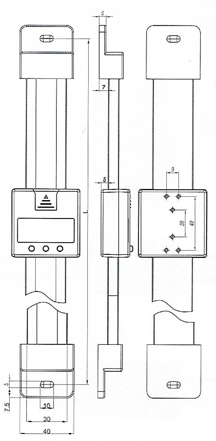 Digital-Einbau-Messschieber - senkrecht