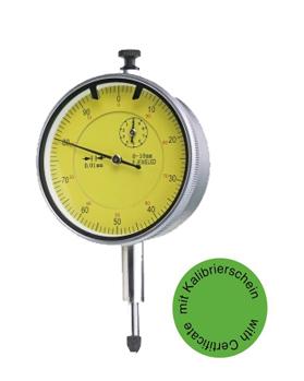 Messuhr 10 mm mit Stoßschutz DIN 878 - Mit Kalibrierzertifikat