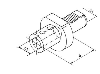 VDI Halter für WP Bohrer - Typ E1 - Innenkühlung