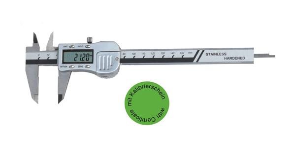 Digital-Taschen-Messschieber 150 mm - Metallgehäuse DIN 862 - Mit Kalibrierschein