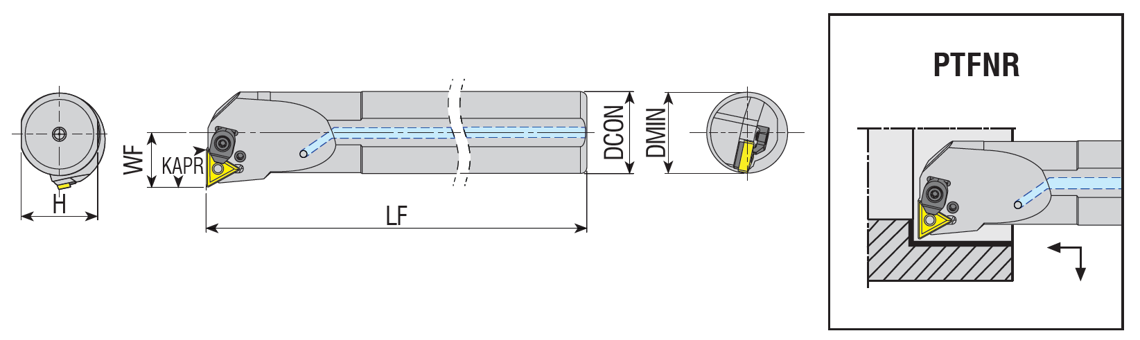 Bohrstangen mit Innenkühlung PTFNR / PTFNL