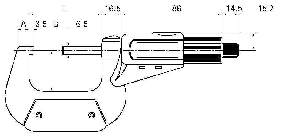 Digital-Bügelmessschraube DIN 863 - mit Friktionskupplung