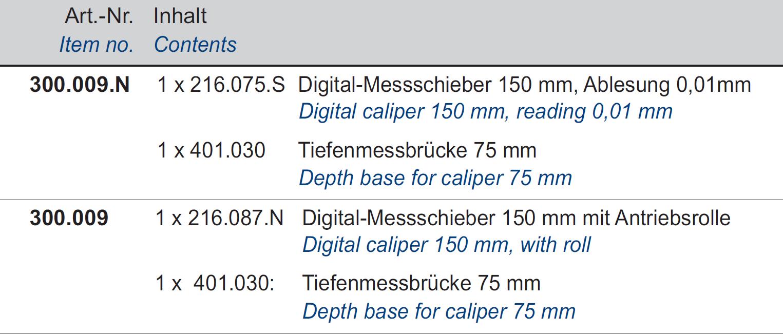 Digital-Messschieber + Tiefenmessanschlag