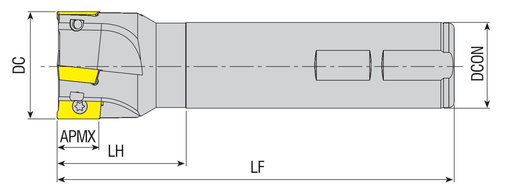 Wendeplatten - Schaftfräser 90° für APKT 10..