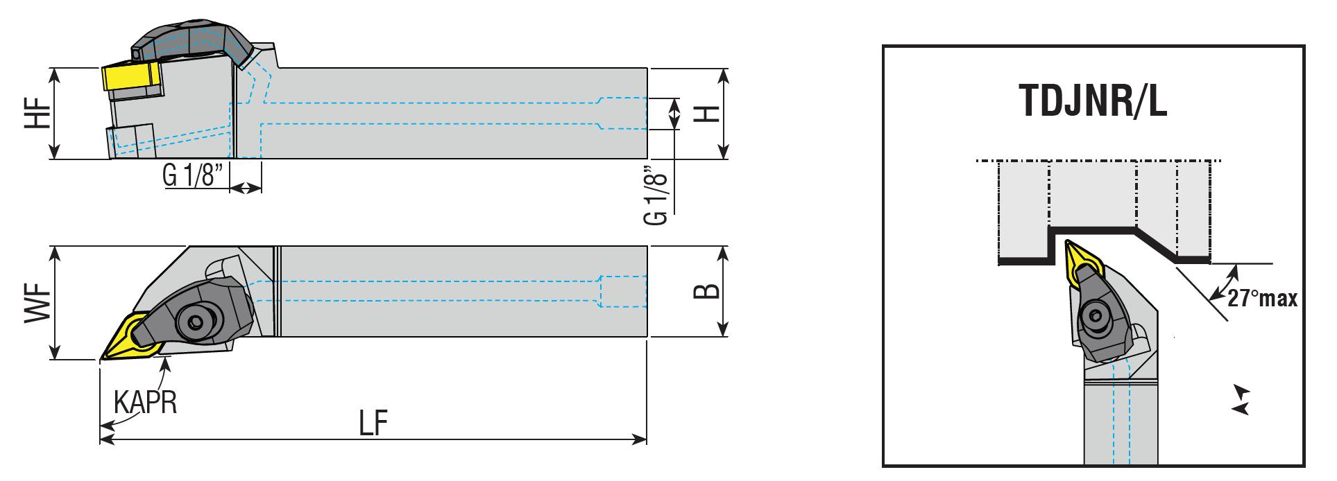 Drehhalter mit Innenkühlung TDJNR / TDJNL