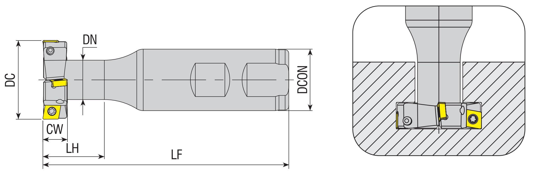Wendeplatten - T-Nutenfräser 90° für CCMT