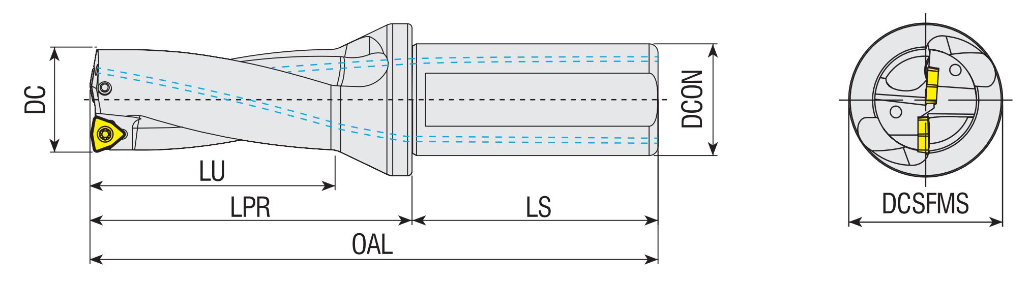 Vollbohrer 4xD mit Innenkühlung für SPKX / SPGT