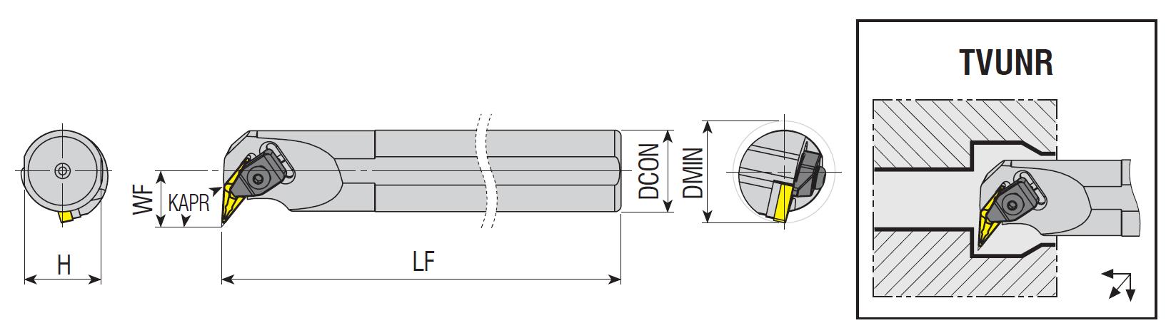 Bohrstangen TVUNR / TVUNL