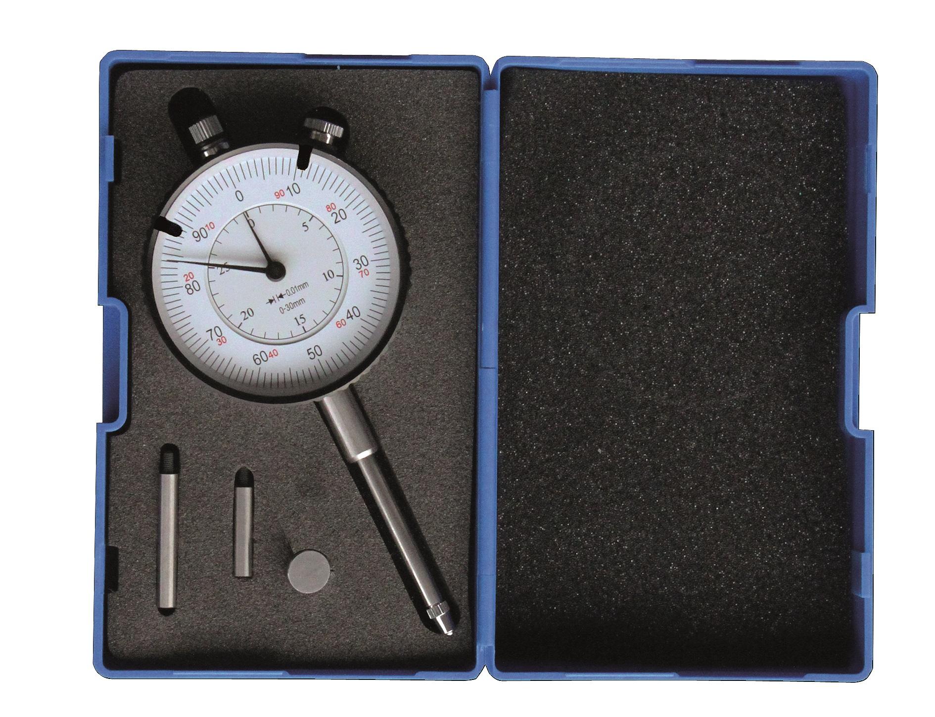 Messuhr 30 mm + Verlängerungen und Teller-Einsatz
