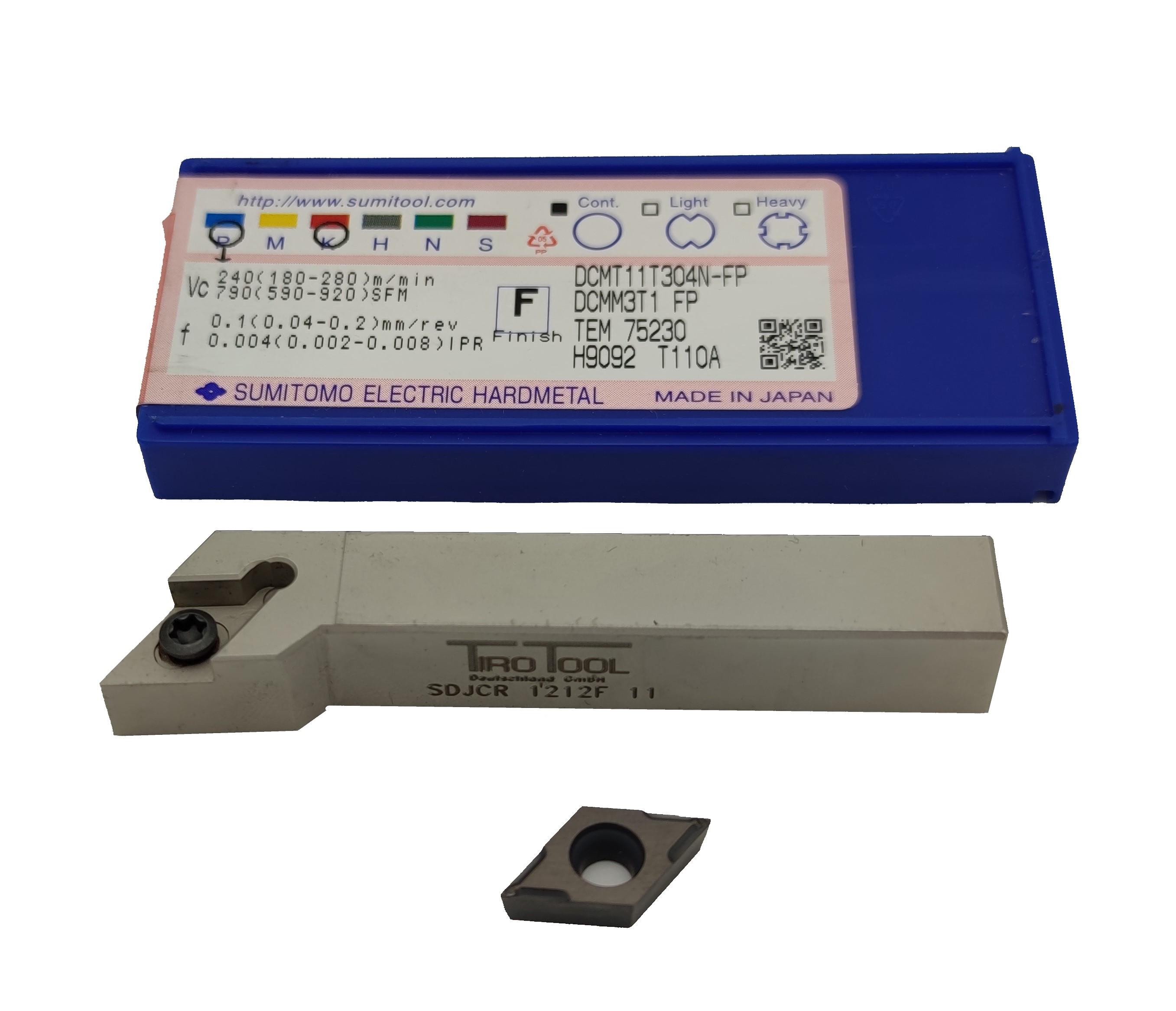 Drehhalter SDJCL 1212 F11 inklusive 10 WSP DCMT 11T304 - für Stahl / GUSS