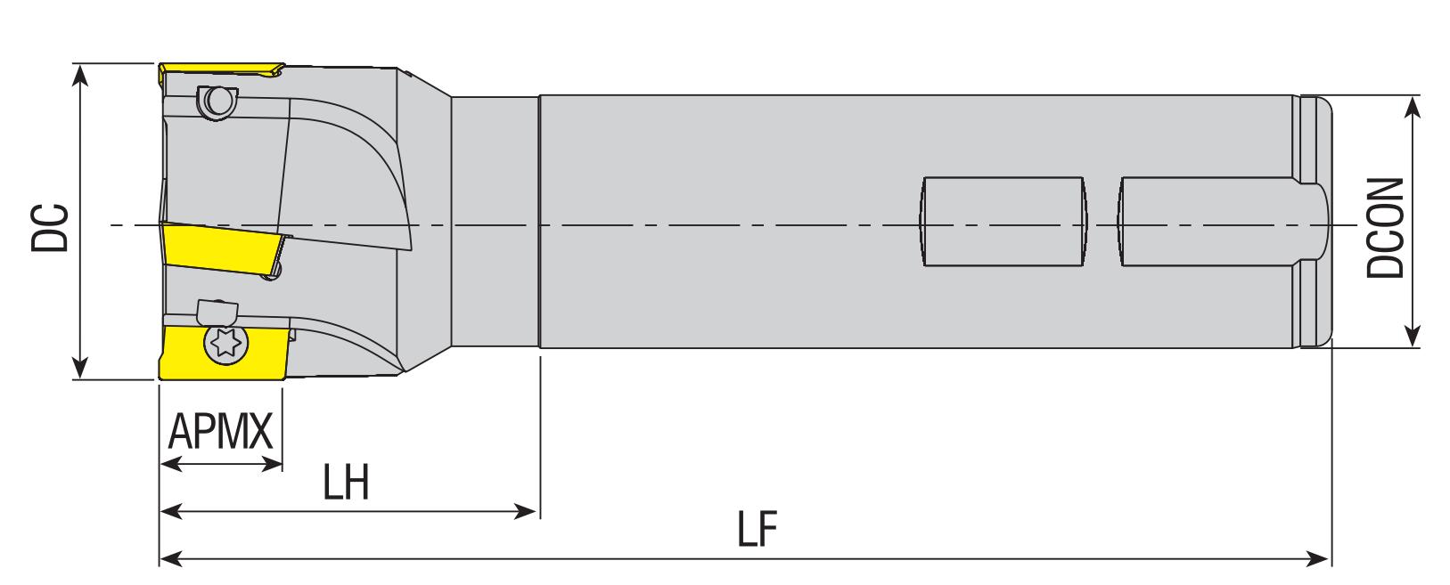 Wendeplatten - Schaftfräser 90° für APKT 16..