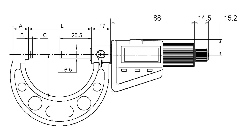 Digital-Bügelmessschrauben-Satz - Messweg 35 mm - mit Friktionsratsche