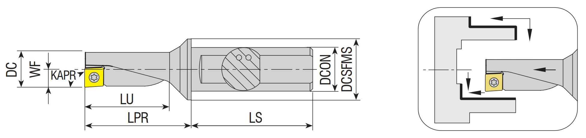 Multifunktionales Dreh- und Bohrwerkzeug AEKR/L