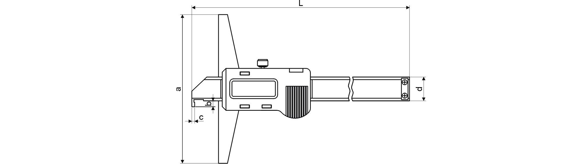 Digital-Tiefen-Messschieber - mit Haken - Metallgehäuse